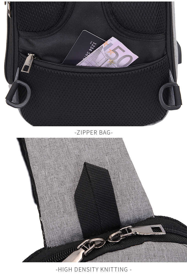 Grey Cross Body Messenger Bag with USB Charge - alt image 5