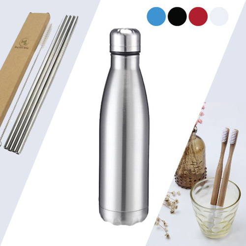 Stainless Steel Water Bottle, Straws, Bamboo Toothbrush
